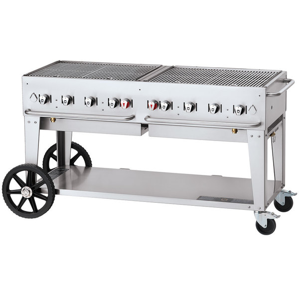 """Crown Verity CV-MCB-60-SI-50/100 Liquid Propane 60"""" Mobile Outdoor Grill with Single Gas Connection and 50-100 lb. Tank Capacity Main Image 1"""