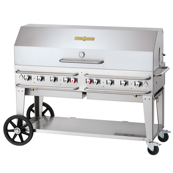 """Crown Verity CV-RCB-60-1RDP-SI50/100 60"""" Pro Series Outdoor Rental Grill with Single Gas Connection, 50-100 lb. Tank Capacity and Single Roll Dome Package Main Image 1"""