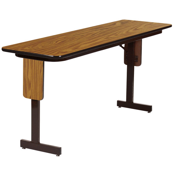30/'/' X 60/'/' RECTANGULAR WALNUT LAMINATE TABLE TOP WITH 18/'/' ROUND TABLE HT BASES