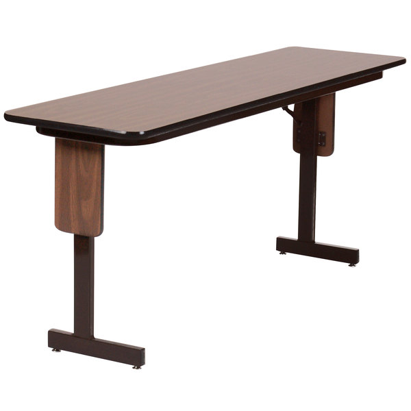 "Correll SP1896PX-01 18"" x 96"" Walnut Finish Rectangular High Pressure Folding Seminar Table with Panel Leg"