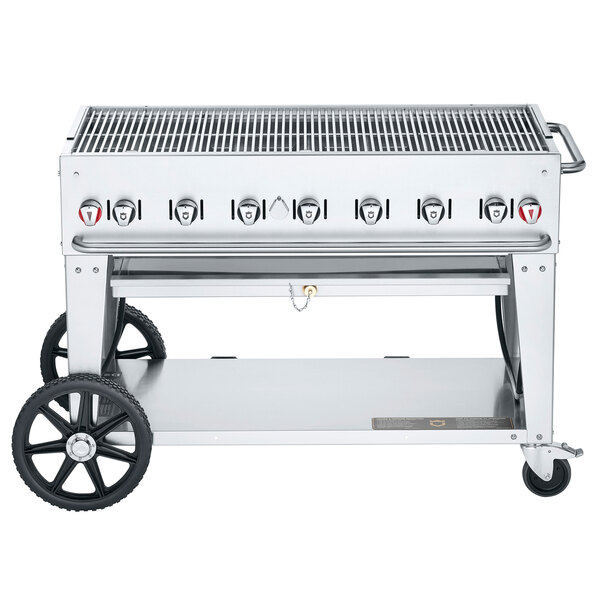 "Crown Verity CV-MCB-48-SI-50/100 Liquid Propane 48"" Mobile Outdoor Grill with Single Gas Connection and 50-100 lb. Tank Capacity Main Image 1"