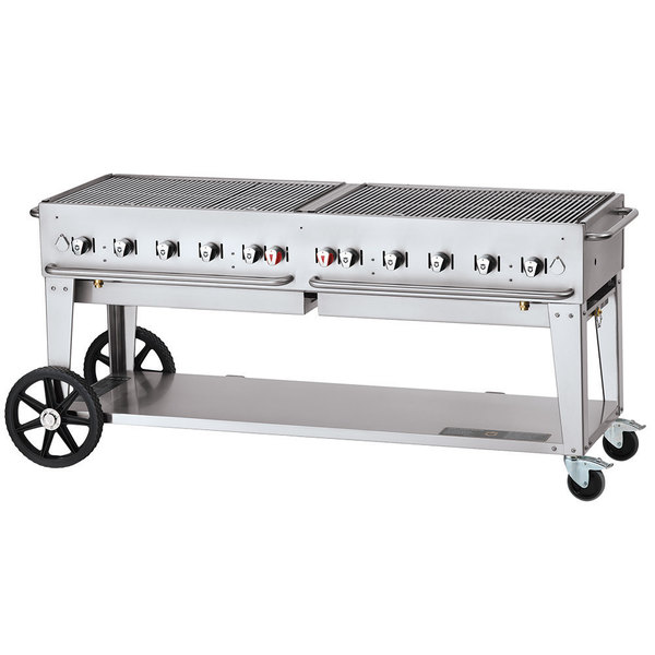 """Crown Verity CV-MCB-72-SI-50/100 Liquid Propane 72"""" Mobile Outdoor Grill with Single Gas Connection and 50-100 lb. Tank Capacity Main Image 1"""