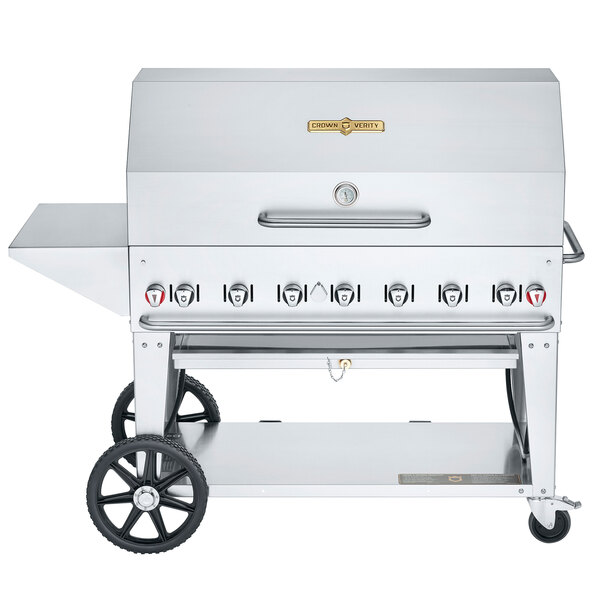 """Crown Verity CV-MCB-48-SI50/100-PKG Liquid Propane 48"""" Mobile Outdoor Grill with Single Gas Connection, 50-100 lb. Capacity, and Accessory Package Main Image 1"""