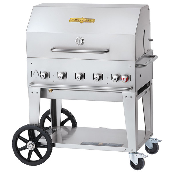 """Crown Verity CV-MCB-36RDP Liquid Propane 36"""" Mobile Outdoor Grill with Roll Dome Package Main Image 1"""