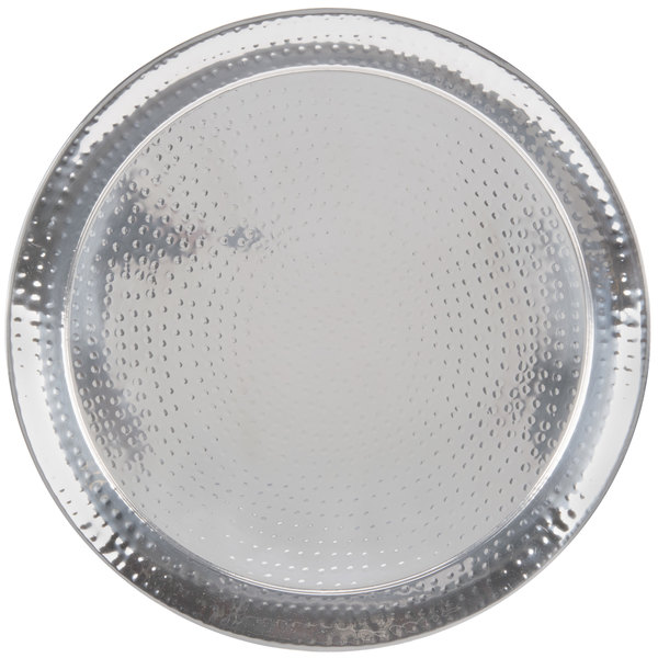 """American Metalcraft HMRST2201 22"""" Round Hammered Stainless Steel Tray Main Image 1"""