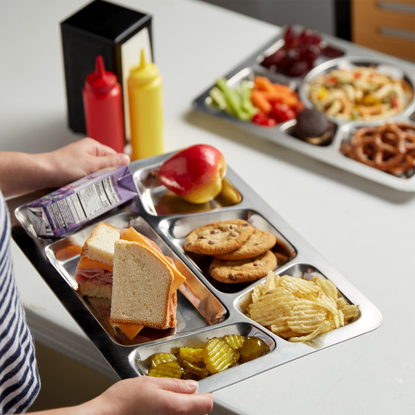 """15 1/2"""" x 11 1/2"""" Stainless Steel Rectangular 6 Compartment Tray with Trapezoid Center Main Image 2"""