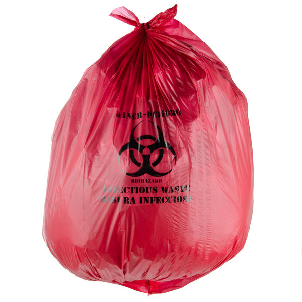 "40-45 Gallon 40"" x 48"" Red Isolation Infectious Waste Bag / Biohazard Bag High Density 17 Microns - 200/Case Main Image 2"