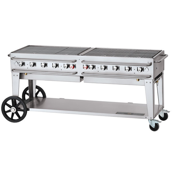 """Crown Verity CV-RCB-72-SI50/100 72"""" Pro Series Outdoor Rental Grill with Single Gas Connection and 50-100 lb. Tank Capacity"""