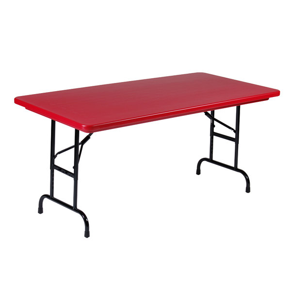 "Correll R-Series R3060 30"" x 60"" Red Plastic Folding Table"