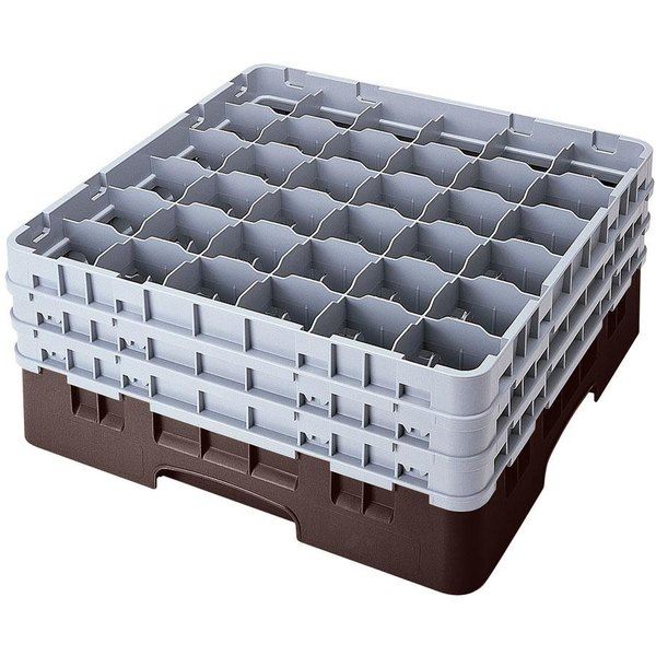 "Cambro 36S434167 Brown Camrack Customizable 36 Compartment 5 1/4"" Glass Rack Main Image 1"