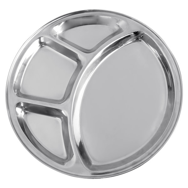 """12 1/2"""" Stainless Steel 4 Compartment Plate / Thali Main Image 1"""