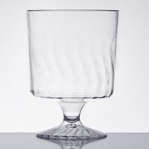 Fineline Flairware 2205 5.5 oz. 1-Piece Clear Plastic Wine Cup  - 10/Pack