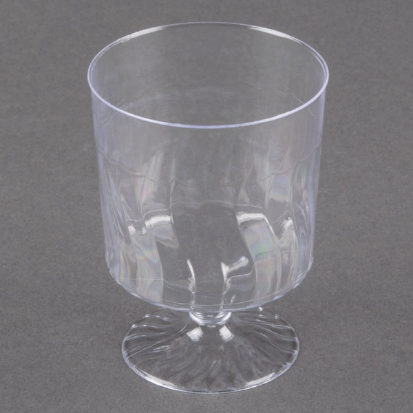Fineline Flairware 2205 5.5 oz. Clear Plastic Wine Cup - 10/Pack