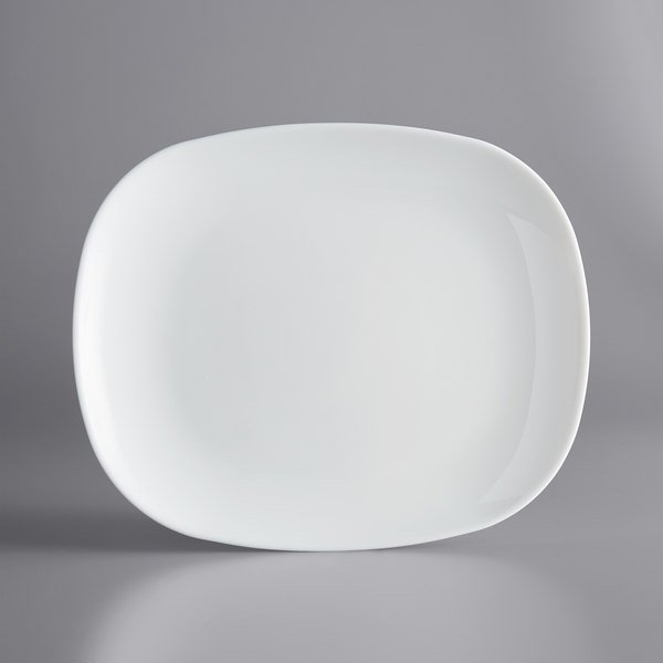 """Arcoroc N9403 Evolutions 11"""" x 9"""" White Rectangular Opal Glass Plate by Arc Cardinal - 12/Case Main Image 1"""