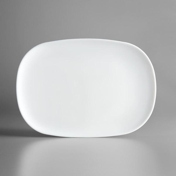 "Arcoroc N9402 Evolutions 13 3/4"" x 9 1/4"" White Rectangular Opal Glass Serving Platter by Arc Cardinal - 12/Case Main Image 1"