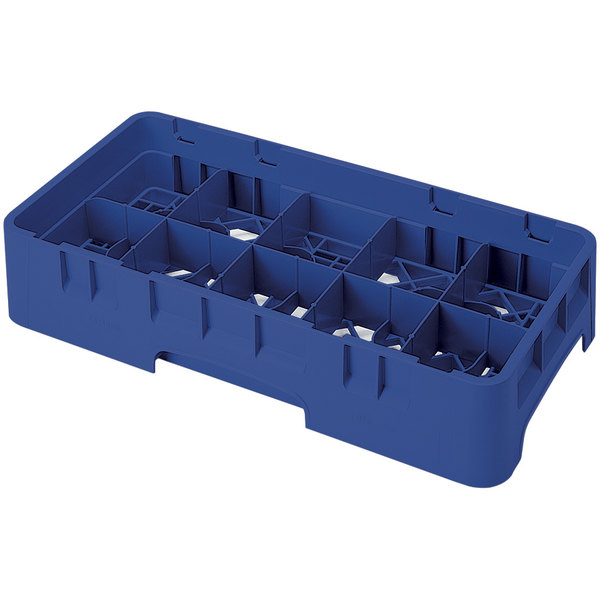 "Cambro 10HS800186 Navy Blue Camrack Customizable 10 Compartment 8 1/2"" Half Size Glass Rack"