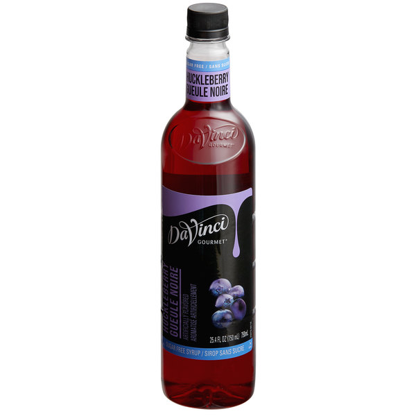 DaVinci Gourmet 750 mL Sugar Free Huckleberry Flavoring / Fruit Syrup