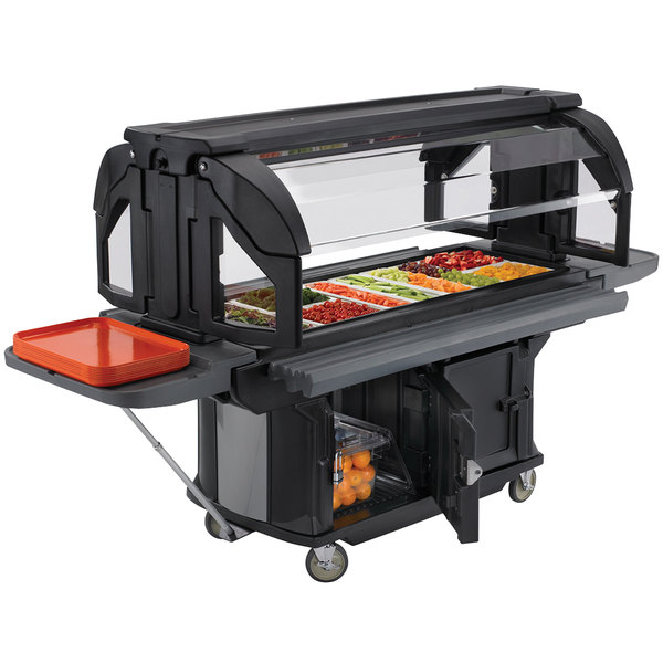 Cambro VBRUHD5110 Black 5' Versa Ultra Food / Salad Bar with Storage and Heavy-Duty Casters