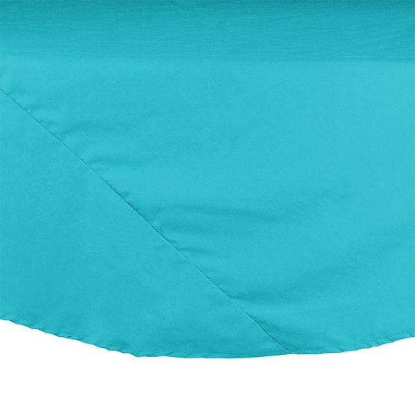 """Intedge 120"""" Round Teal Hemmed Polyspun Cloth Table Cover Main Image 1"""