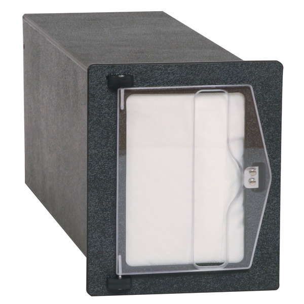 "Vollrath FMHVN-1 In-Counter Black Thermoplastic Flush Mount Folded Napkin Dispenser - Cut-Out Dimensions 6 3/16"" x 7 5/8"" Main Image 1"