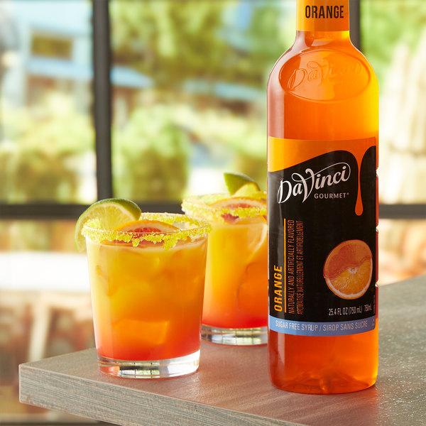 DaVinci Gourmet 750 mL Sugar Free Orange Flavoring / Fruit Syrup