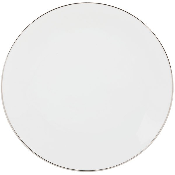 """10 Strawberry Street CPSL0024 Coupe Silver Line 12"""" Silver Porcelain Charger Plate - 12/Case"""