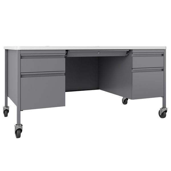 Hirsh Industries 22659 Platinum White Mobile Double Pedestal Teacher S Desk 60 X 30 X 29 1 2
