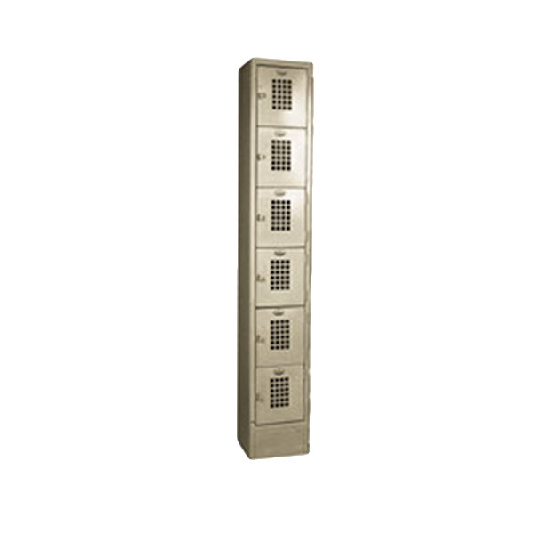 "Winholt WL-66 Single Column Six Door Steel Locker with Perforated Doors - 12"" x 12"" x 78"""