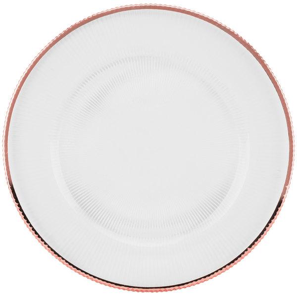 "10 Strawberry Street MRKLRG-340 Markle 12 3/4"" Rose Gold Glass Charger Plate"