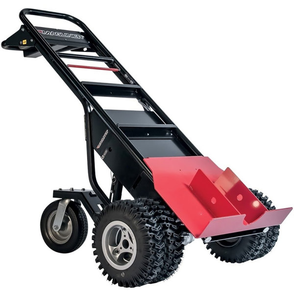 """Magliner MHT75DC 1000 lb. Motorized Hand Truck with 13"""" Dual Aggressive Tread Pneumatic Wheels and Tent Pole Pusher - 36V, 800W"""