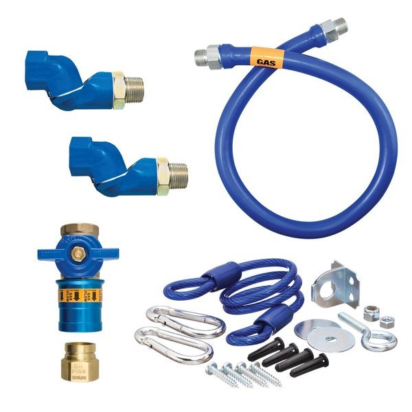 """Dormont 16100KITCF2S48 Deluxe Safety Quik® 48"""" Gas Connector Kit with Two Swivels and Restraining Cable - 1"""" Diameter"""
