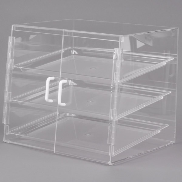 "Cal-Mil P241SS Three Tier Slanted Front Acrylic Display Case - 19"" x 17"" x 18"" Main Image 1"