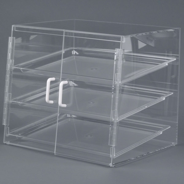 Cal-Mil P241SS Three Tier Slanted Front Acrylic Display Case - 19 inch x 17 inch x 18 inch