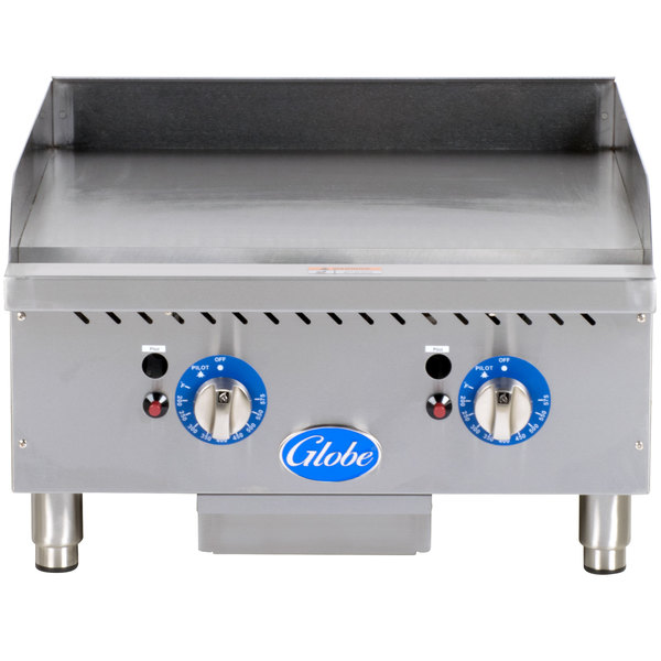 """Globe GG24TG 24"""" Countertop Gas Griddle with Thermostatic Controls - 60,000 BTU"""
