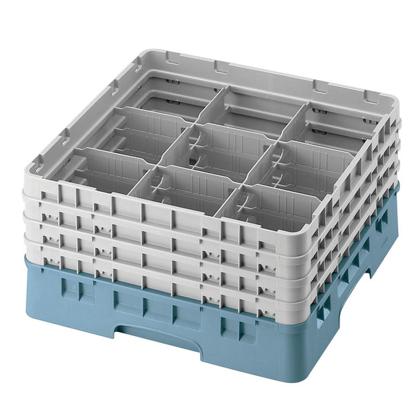 "Cambro 9S1114414 Teal Camrack Customizable 9 Compartment 11 3/4"" Glass Rack"