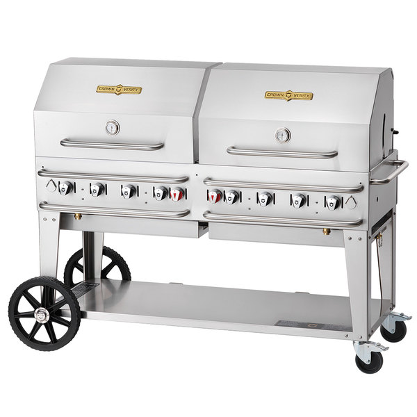 """Crown Verity CV-RCB-60-2RDP-SI50/100 60"""" Pro Series Outdoor Rental Grill with Single Gas Connection, 50-100 lb. Tank Capacity, and Double Roll Dome Package"""