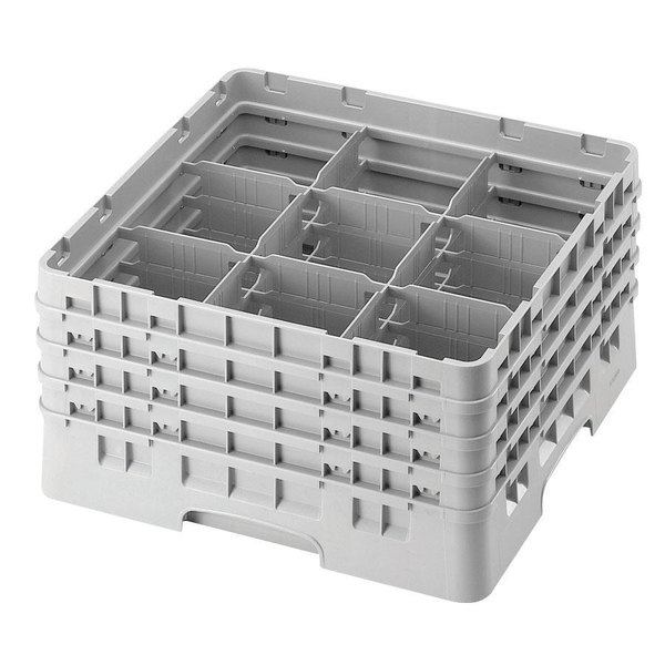 """Cambro 9S434151 Soft Gray Camrack Customizable 9 Compartment 5 1/4"""" Glass Rack Main Image 1"""