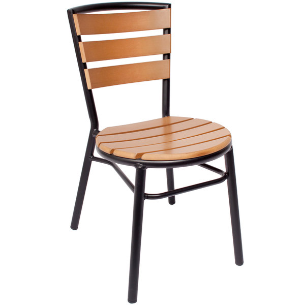 BFM Seating PH3084STKBL Norden Outdoor / Indoor Stackable Black Aluminum and Synthetic Teak Side Chair Main Image 1