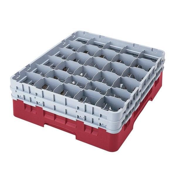"Cambro 30S1114416 Cranberry Camrack Customizable 30 Compartment 11 3/4"" Glass Rack"