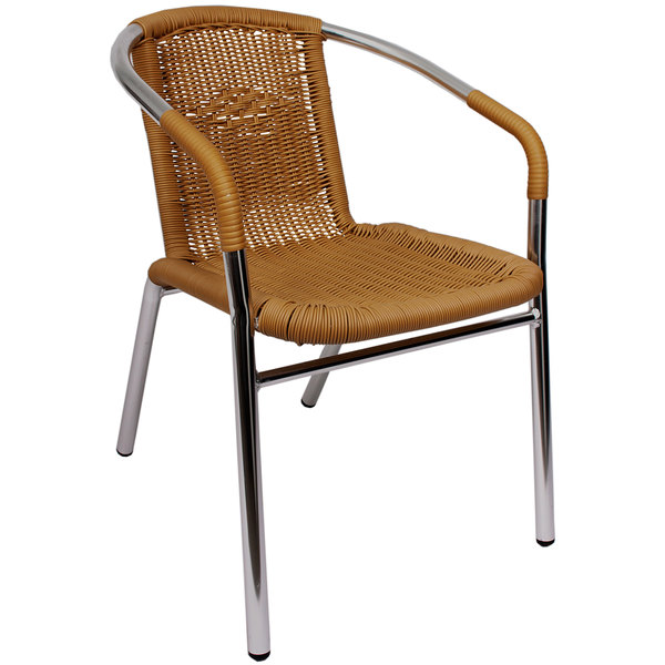 BFM Seating PH21CTN Madrid Outdoor / Indoor Stackable Tan Synthetic Wicker Arm Chair Main Image 1