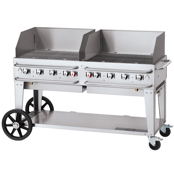 """Crown Verity CV-RCB-60WGP-SI-BULK 60"""" Pro Series Outdoor Rental Grill with Single Gas Connection, Bulk Tank Capacity, and Wind Guard Package Main Image 1"""