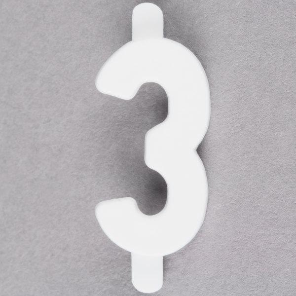 "3/4"" White Molded Plastic Number 3 Deli Tag Insert - 50/Set Main Image 1"