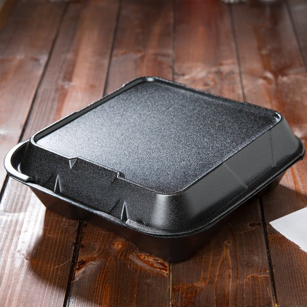 """Genpak SN203-BK 9"""" x 9"""" x 3"""" Black Foam 3 Compartment Container with Hinged Lid - 200/Case"""