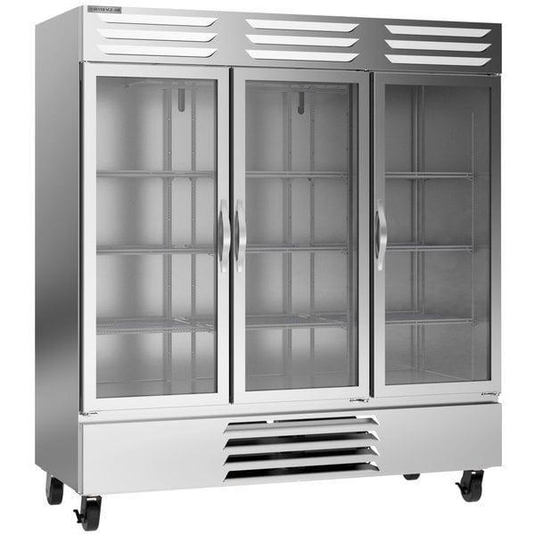 "Beverage-Air FB72HC-5G 75"" Vista Series Three Section Glass Door Reach-In Freezer - 69 cu. ft. Main Image 1"