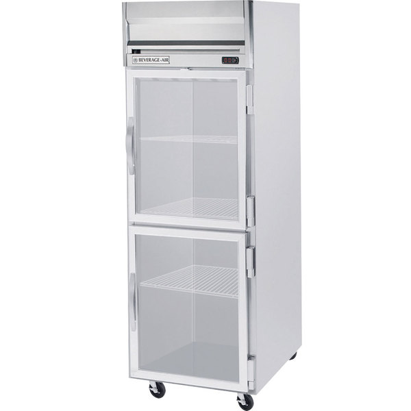 "Beverage-Air HR1-1HG-LED Horizon Series 26"" Top Mounted Glass Half Door Reach-In Refrigerator"