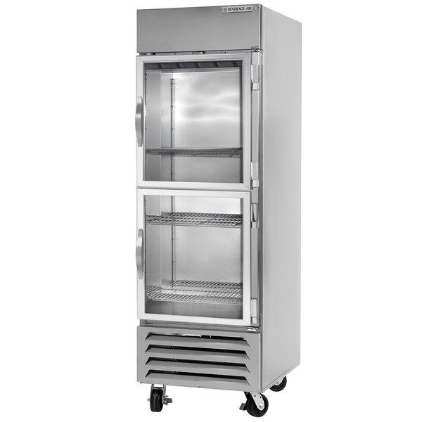 "Beverage-Air HBF23HC-1-HG 27"" Bottom Mounted Half Glass Door Reach-In Freezer - 23 cu. ft."