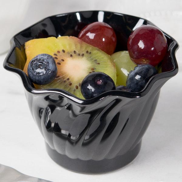 Cambro SRB5110 5 oz. Black Plastic Swirl Bowl - 24/Case