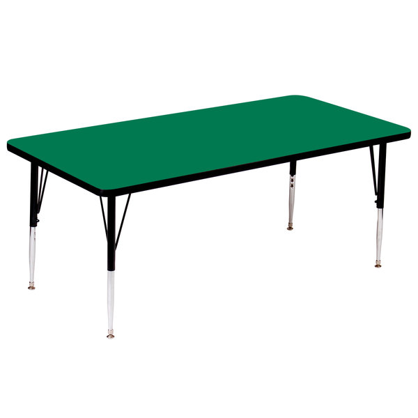 "Correll A3072-RECS-39 72"" x 30"" Rectangular 16"" - 25"" Adjustable Height High Pressure Green Top Activity Table"