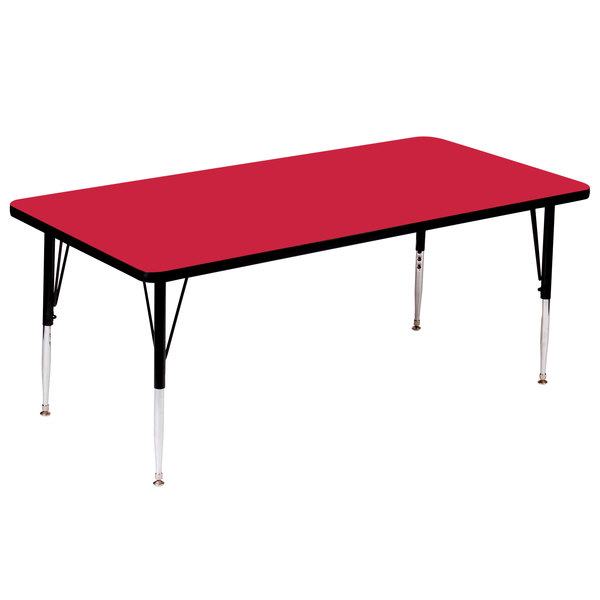 """Correll A3660-RECS-35 60"""" x 36"""" Rectangular 16"""" - 25"""" Adjustable Height High Pressure Red Top Activity Table Main Image 1"""