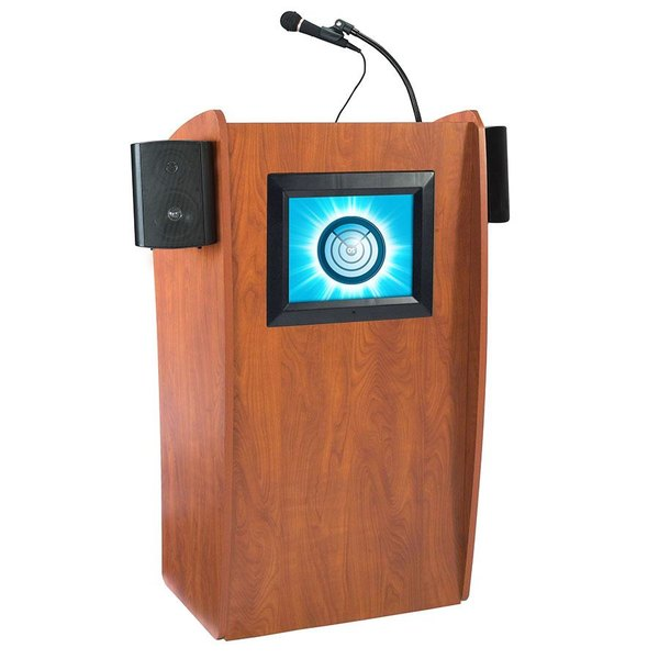 Oklahoma Sound 612S-CH Wild Cherry Finish Vision Lectern with LCD Screen and Sound Main Image 1